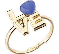 Korea Style Heart LOVE Letter Adjustable Ring