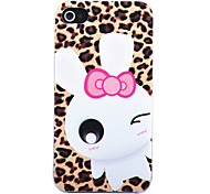 Joyland Leopard Print Cartoon Rabbit Back Case for iPhone 4/4S