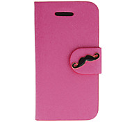 Silk Print PU Full Body Case with Black Mustache Button and Card Slot for iPhone 4/4S (Assorted Colors)