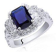 Luxury 7X9Mm Radiant Shape Zircon S925 Sterling Silver Ring For Lady