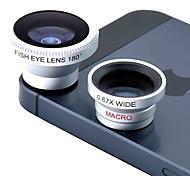 Lentes 3 em 1 (0.7x Grande Angular, Macro e 180 graus Olho de Peixe para 4/4S, iPad e Outros Celulares