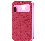 Transparent Pattern Skylight Design PU Leather Full Body Pouches for Samsung Galaxy S4 I9500