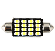 42mm 16 1210 SMD LED Canbus White Car Interior Dome Festoon Light Lamp Bulb
