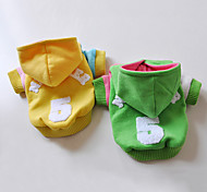 Dog Coat / Hoodie Green / Yellow Dog Clothes Winter Letter & Number