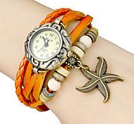 Women's Star Fish Pendant Leather Band Quartz Analog Bracelet Watch (Assorted Colors)