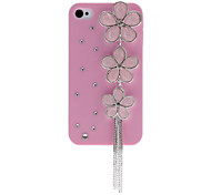 Elegant Flowers with Diamond Covered Pink Hard Case with Nail Adhesive for iPhone 4/4S