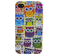 Cartoon Style Colorful Owls Pattern TPU Case for iPhone 4/4S