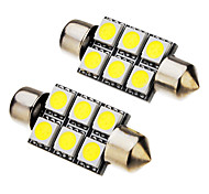 2 pezzi 36 millimetri festone 1W 6x5050SMD 70-90LM 6000K Cool White Light Bulb LED (12V)