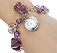 Mulheres brancas Dial roxo Contas do Analog de quartzo pulseira relógio