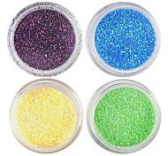 4 colores Láser Glitter polvo de acrílico fijó para No.3 Nail Art 3D