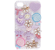 Gypsophila and Lovely Baubles Covered Hard Case with Nail Adhesive for iPhone 4/4S (Assorted Colors)