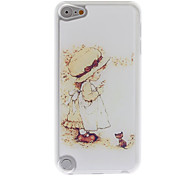 Cartoon Style Little Girl and Cat Pattern Epoxy Hard Case for iPod Touch 5