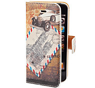 Vintage Post Card Pattern PU Full Body Case with Card Slot and Stand for iPhone 5/5S