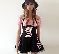 Pretty Black And Pink Spandex Pirate Costumes(3 Pieces)