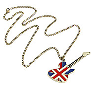 Guitar American Flag Pendant Necklace