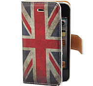 Vintage UK Flag Pattern PU Full Body Case with Card Slot and Stand for iPhone 4/4S
