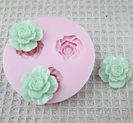 3D 3 cell Flowers Silicone Mold Fondant Molds Sugar Craft Tools Chocolate Mould  For Cakes