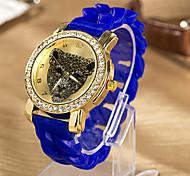 Das mulheres-Resistente à água Silicon Banda Diamante Quartz Analog Watch