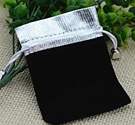 10pcs 7x9Cm Silver Top Black Velvet Jewelry Gift Pouch Bag
