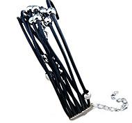 Women's Black Leather Straps With Metal Bead Wrap Bracelet