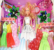 Barbie Doll Wardrobe With Eight Dresses And Accessories