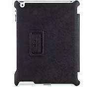 negro patrón de la cubierta 2 plegada cáscara de la protección estuche de cuero de alta standrad cruzado oblicuo de la PU para el ipad 3/4