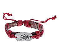 Unisex Flower Fabric Leather Bracelet(Random Color)