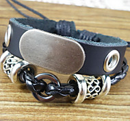Fashion 17Cm Men'S Black  Leather Bracelet(Black)(1 Pc)