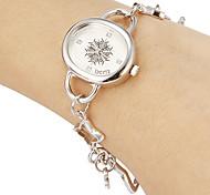 Rodada Simples Feminina Dial Liga Banda Analog de quartzo pulseira relógio