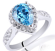 Women Classic S925 Sterling Silver Ring With 7Mm X 9Mm Pear Shape Cubic Zirconia
