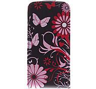 Patrón de la flor de mariposa de la PU Caso Bady completa para el iPhone 5/5S