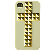 Golden Rivets Cross Pattern Hard Case for iPhone 4/4S