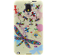 Shimmering Ground Colorful Dragonfly Pattern Plastic Soft Protective Back Case Cover for Samsung Galaxy Note3 N9000