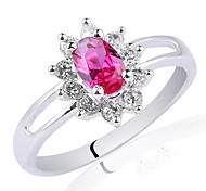 Delicate White Gold Finish Sterling Silver Ring For Women With Zircon Stone