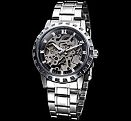 Men's Skeleton Round Dial Steel Band Auto-Mechainical Wrist Watch