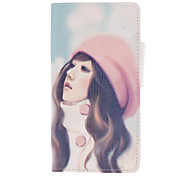 Pink-Hat Long-Hair Girl Drawing Pattern PU Leather Skin Plastic Hard Back Cover Pouches for Samsung Galaxy S2 I9100