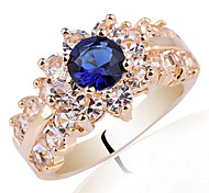 Shining Wear Gold Plated 925 Sterling Silver Ring Women With Cubic Zirconia Center Stone