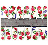 YeManNvYou®1x14PCS 1-Pattern Fashion Red Rose Pattern Full-cover Nail Stickers