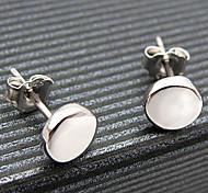 Classic (redondo) Pendientes de plata de la aleación (plata) (1 par)