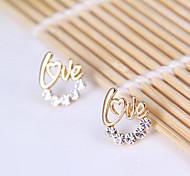 lettres d'or de style fraîches de mode de diamant d'amour Boucles d guirlande E811