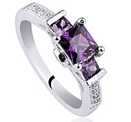 .925 Sterling Silver Ring For Women Square Shape 3-Stone Cubic Zirconia