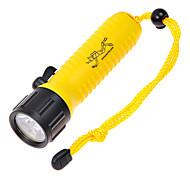 Pop Lite F6 Cree XR-E Q5 160LM 2-Mode Branco Diving Flashlight - Preto + Amarelo (1 x 18.650)
