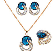 Fashion Gold Gold Plated (Necklace&Earrings&Ring) Gemstone Jewelry Set(Gold)
