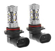 9006 50W 10-LED 6000K Cool White Light LED Bulb for Car (12-24V,2pcs)