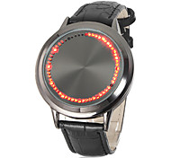 Unisex Touch Screen Red LED Flashing Black Leather Band Wrist Watch