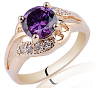 Gold Plated Sterling Silver Ring For Women With Round Cut Cubic Zirconia Stone