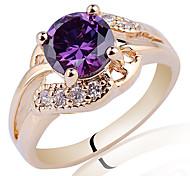 Gold überzogenes Sterling Silber Ring für Frauen mit Rundschnitt-Zirkonia Stein