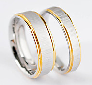 New Fashion Double Line Gold Plated Stainless Steel Lover'S Ring