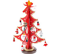 Bois Rouge 3D Arbre de Noël Santa Claus de Bell permanent Desk Top Décorations Paquet