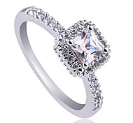 Women 925 Sterling Silver Promise Ring With 4.5Mm Square Shape Cubic Zirconia